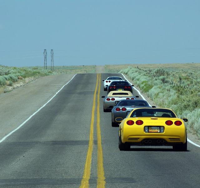 Corvette's on a highway