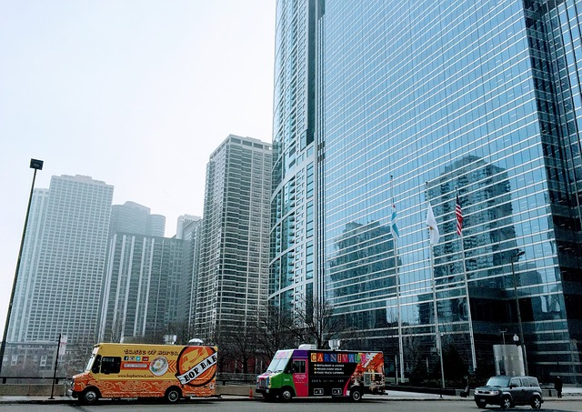 food trucks in front a of a building